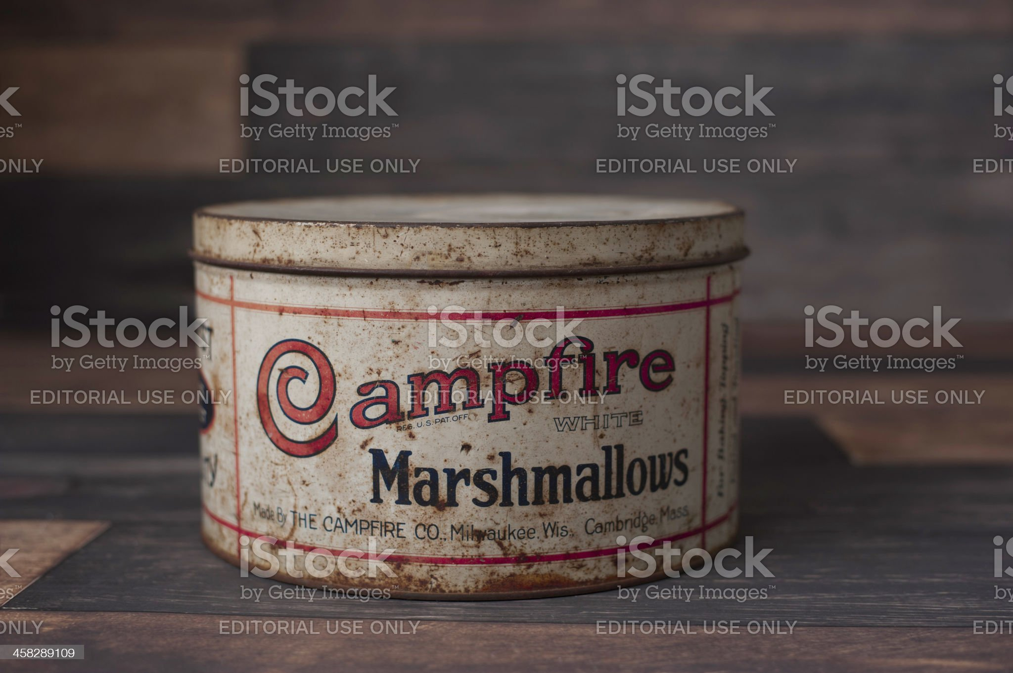 Vintage Campfire Marshmallow Tin royalty-free stock photo