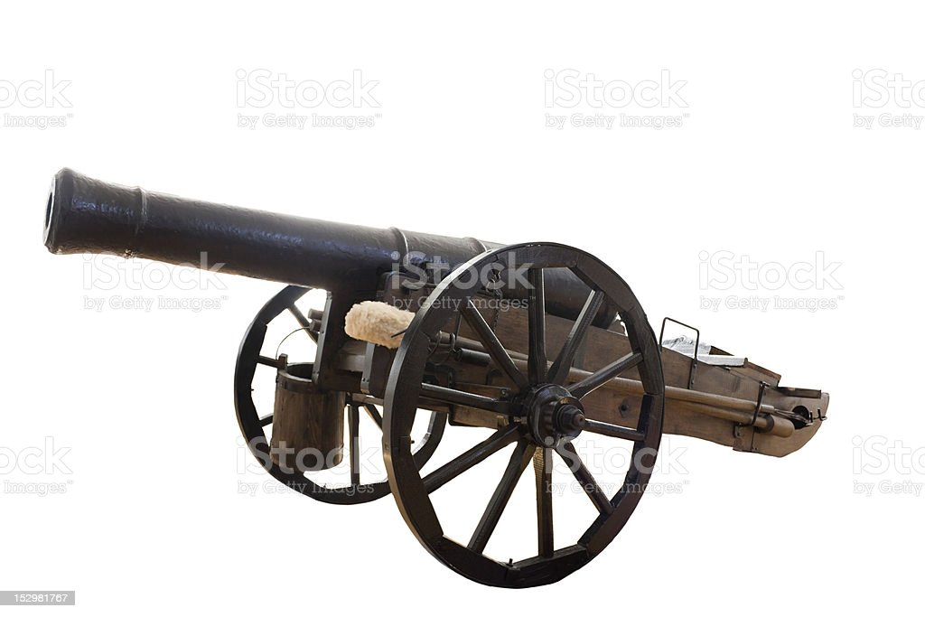 A vintage cannon isolated on white stock photo