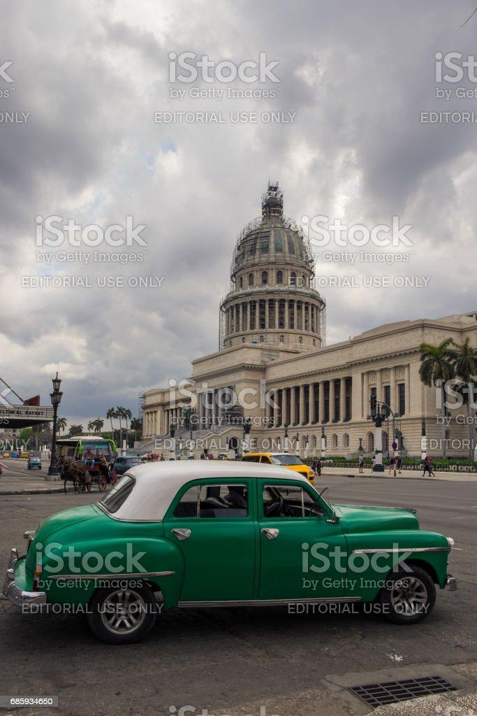 Vintage Car and Capitolio Building in Havana, Cuba stock photo