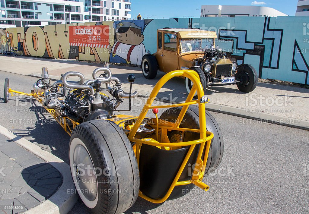 Vintage Car and Modern Go Kart stock photo