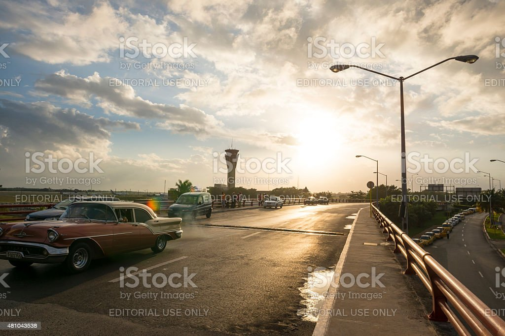 Vintage car arriving at Jose Marti airport in Havana, Cuba stock photo