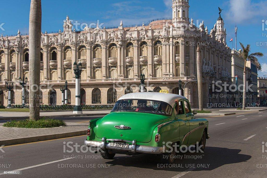 Vintage car at the Paseo del Prado in Havana stock photo