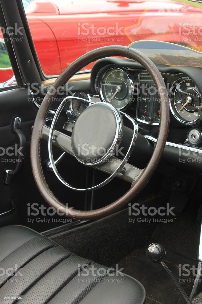 Vintage car dashboard stock photo