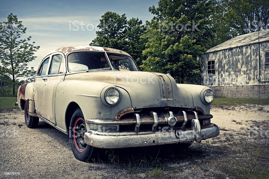 Vintage car for sale royalty-free stock photo