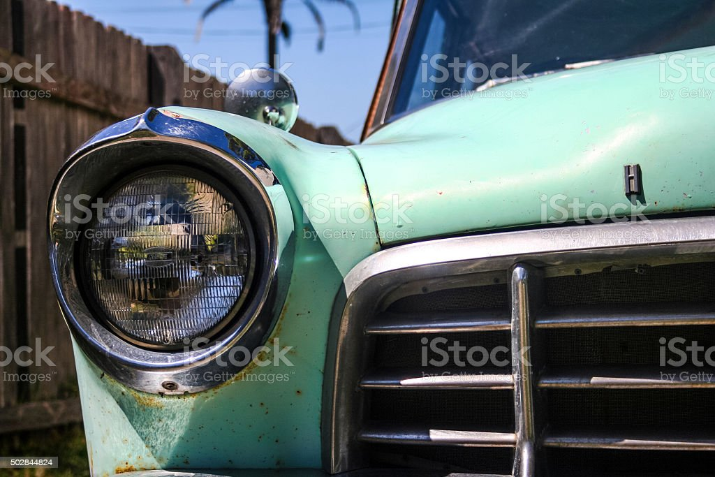 Vintage car headlight and grill stock photo
