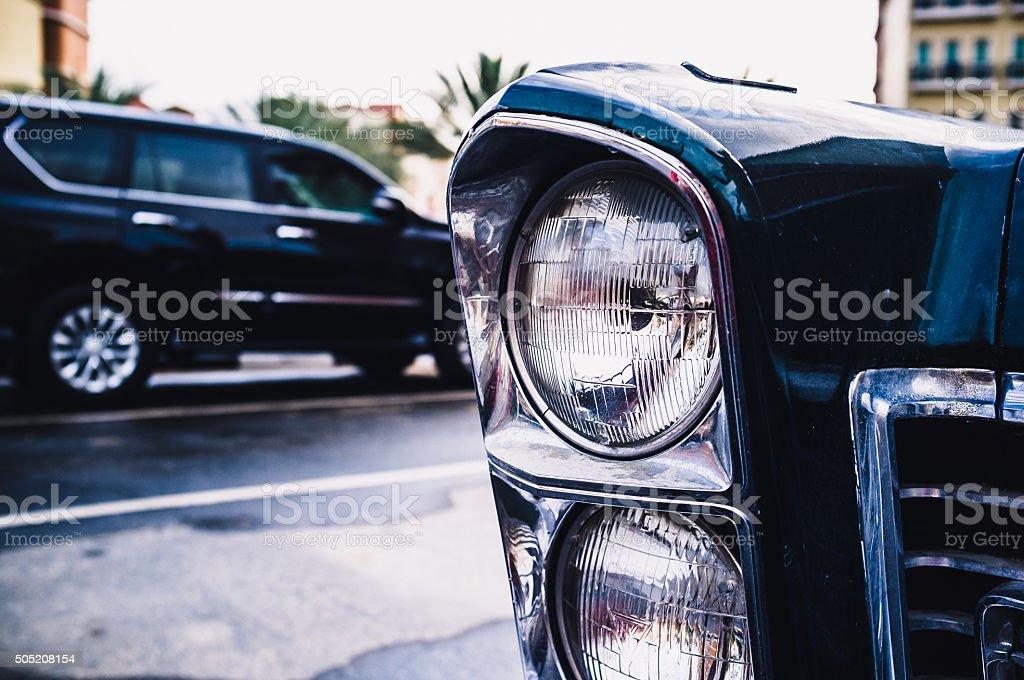 Vintage Car Headlights stock photo