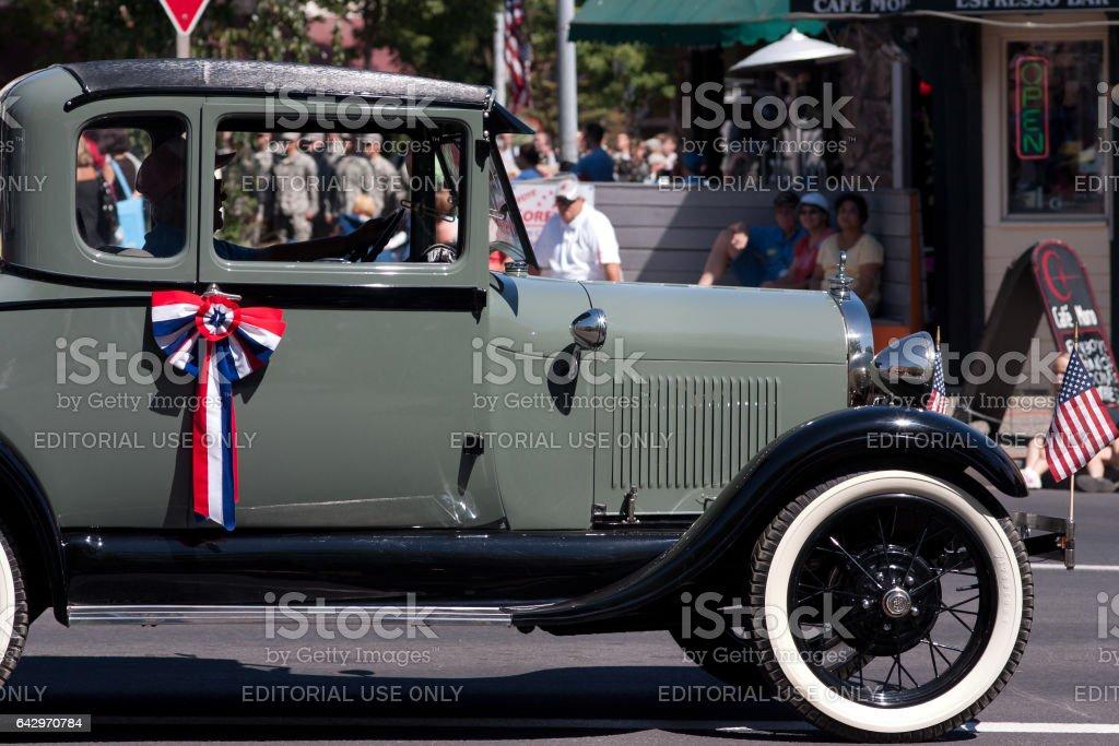 Vintage car in a parade stock photo