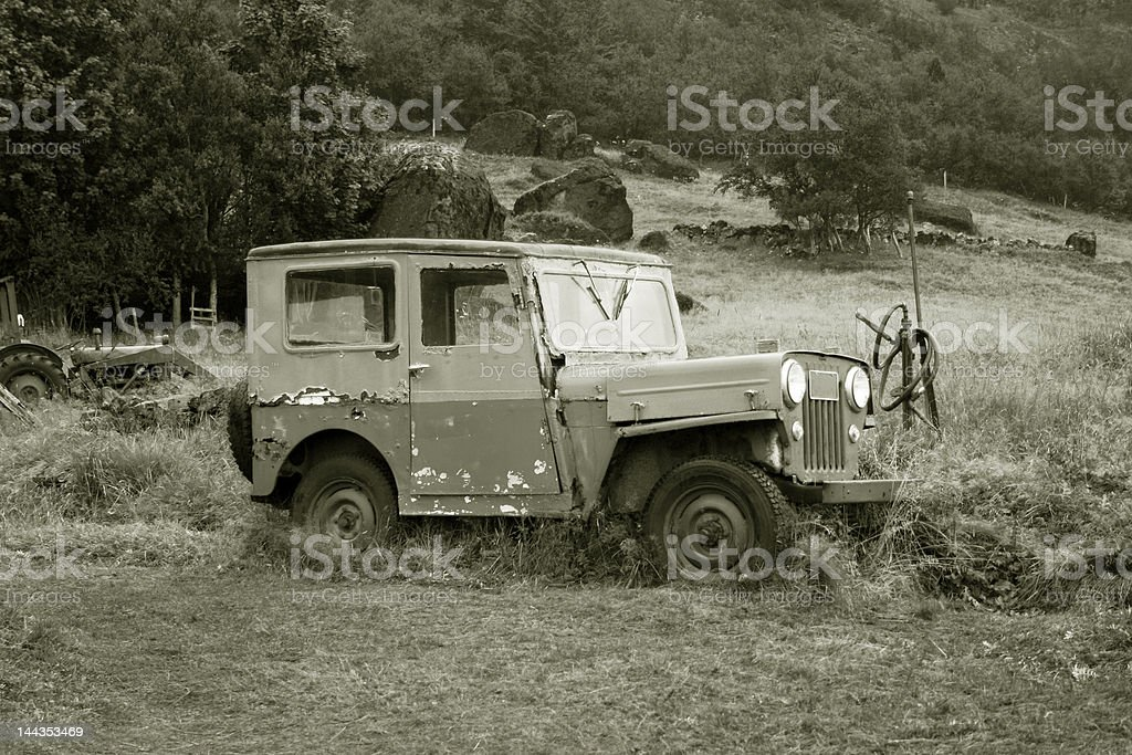 vintage car in black and white royalty-free stock photo