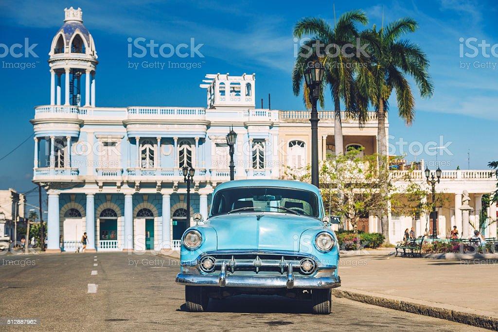 vintage car in Cienfuegos, Cuba stock photo