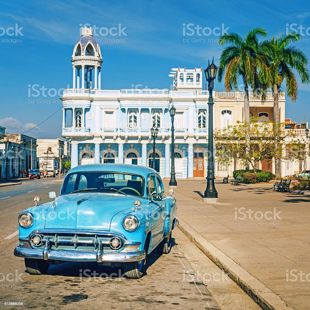 vintage car in Cienfuegos, Cuba stock photo