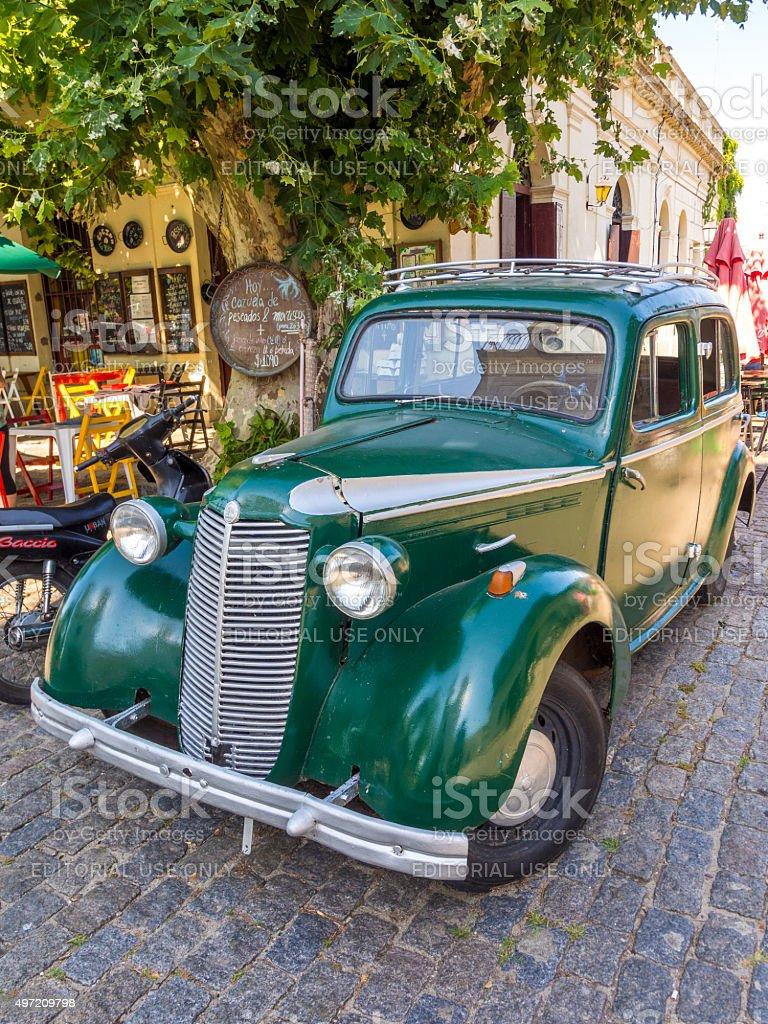 Vintage car in Colonia del Sacramento, Uruguay stock photo
