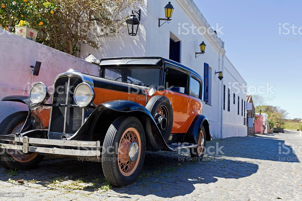 vintage car in Colonia street stock photo