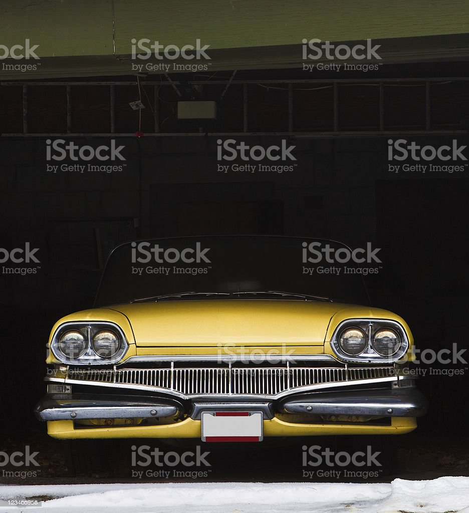Vintage car in garage for winter stock photo