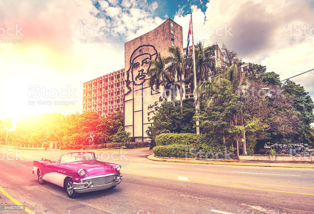 vintage car in  Havana, Cuba, vintage effect stock photo