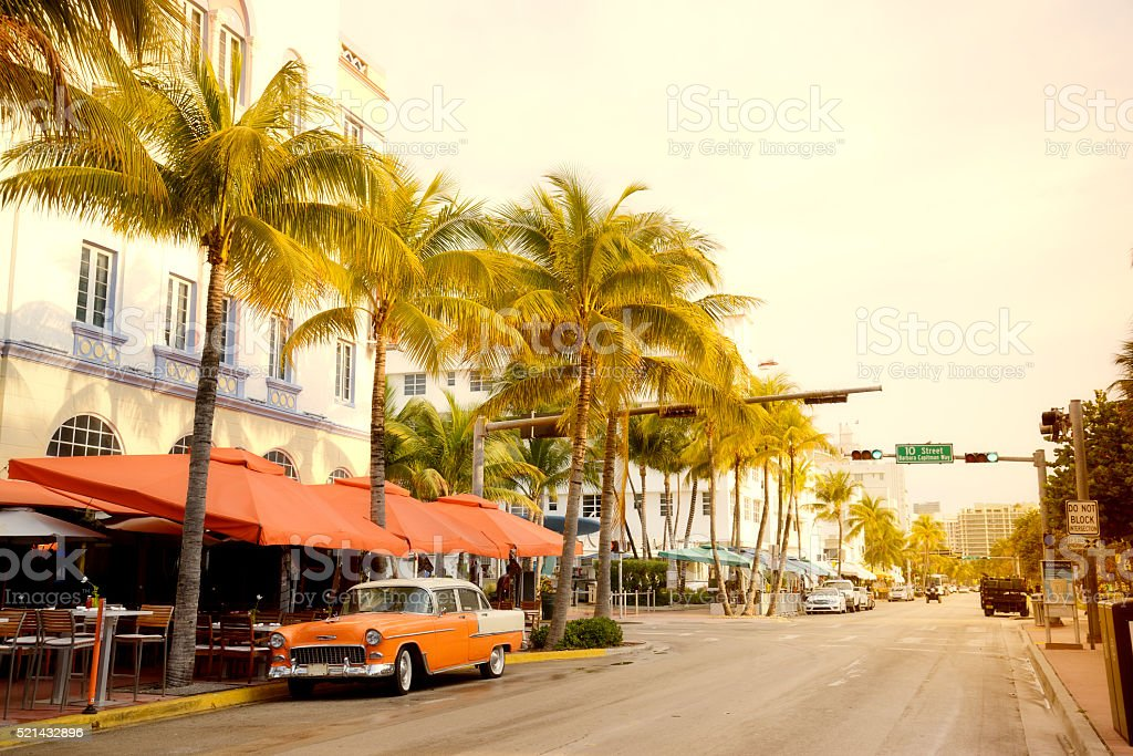 Vintage Car in Ocean Drive, Miami Beach stock photo