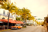 Vintage Car in Ocean Drive, Miami Beach