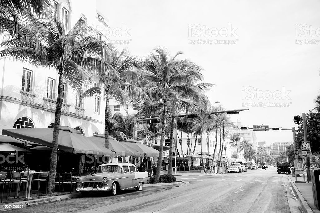 Vintage car in Ocean Drive, Miami. Black And White. stock photo
