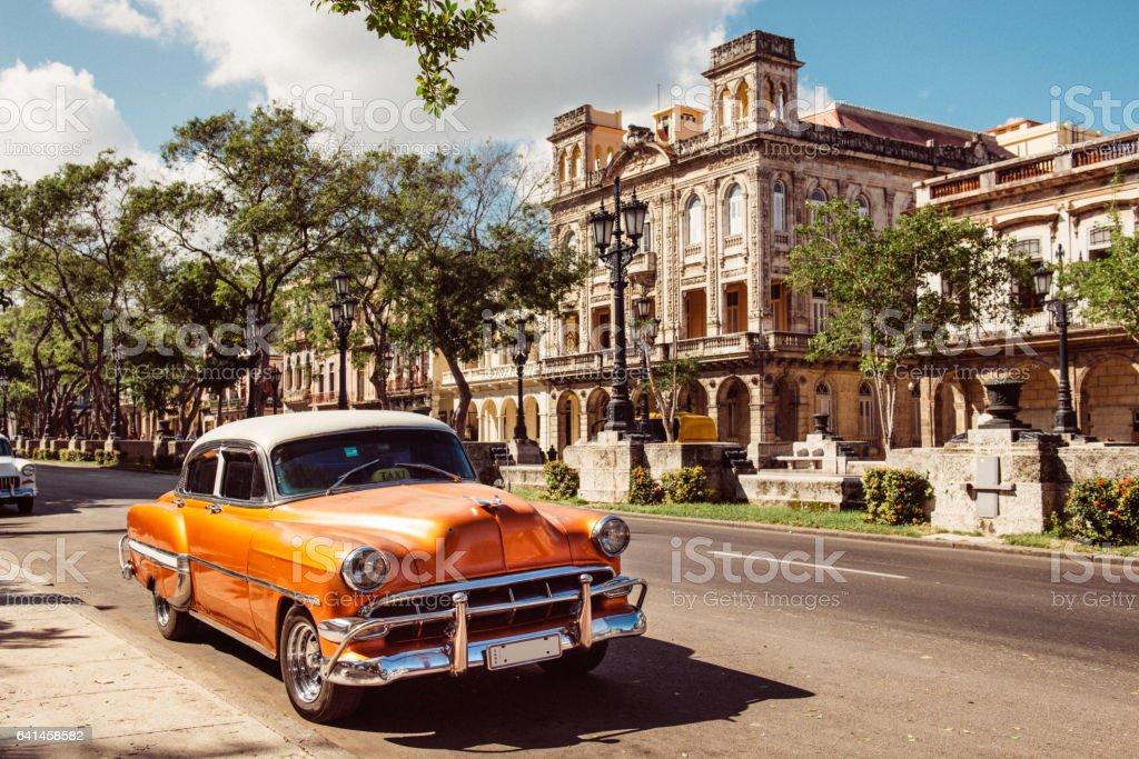 Vintage Car in Old Havana Cuba stock photo