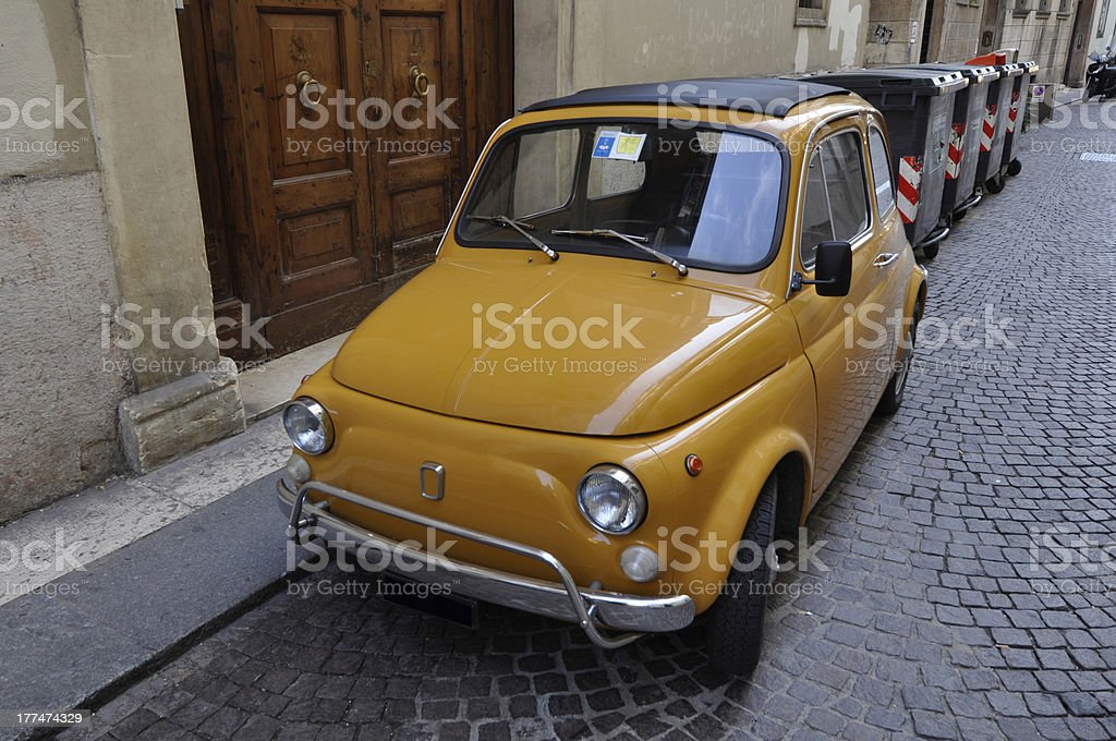 Vintage car in southern Italian village royalty-free stock photo