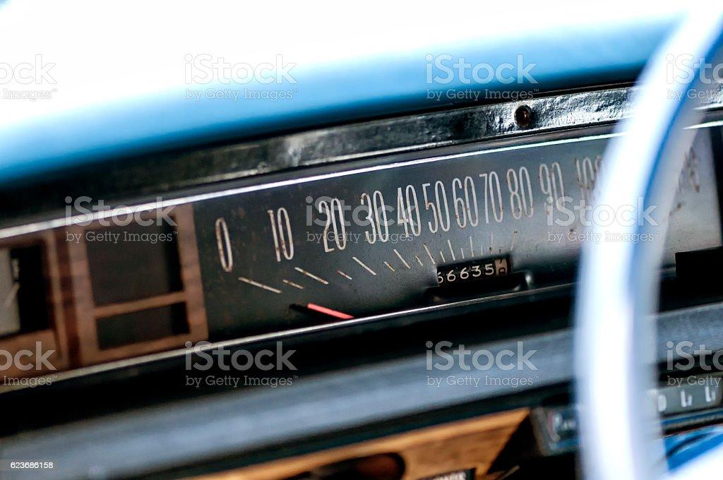 Vintage car meter stock photo