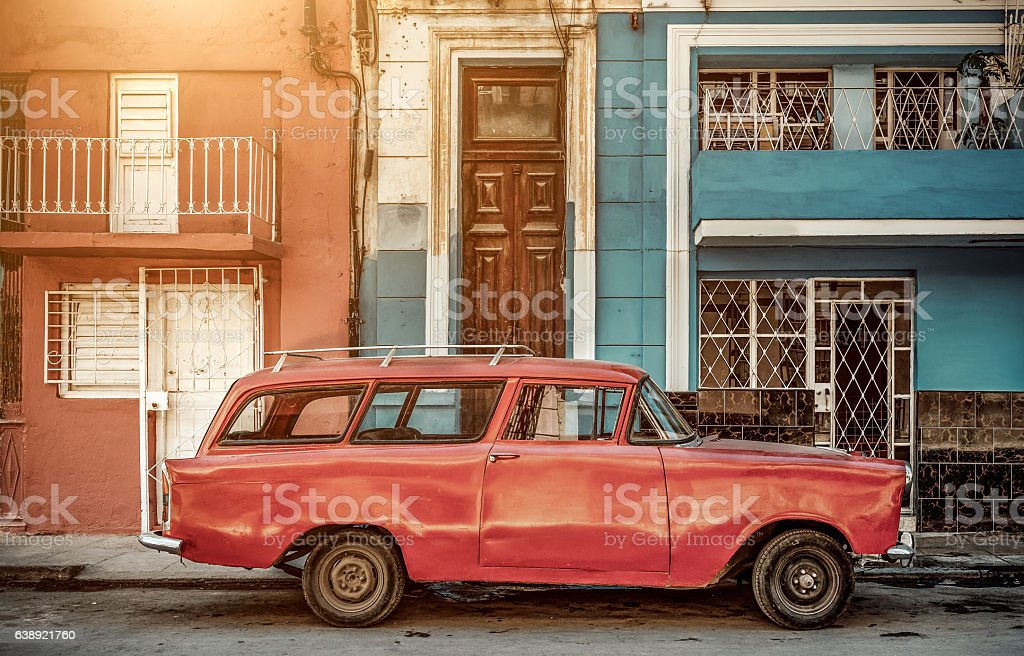 Vintage Car on Havana street, Cuba stock photo