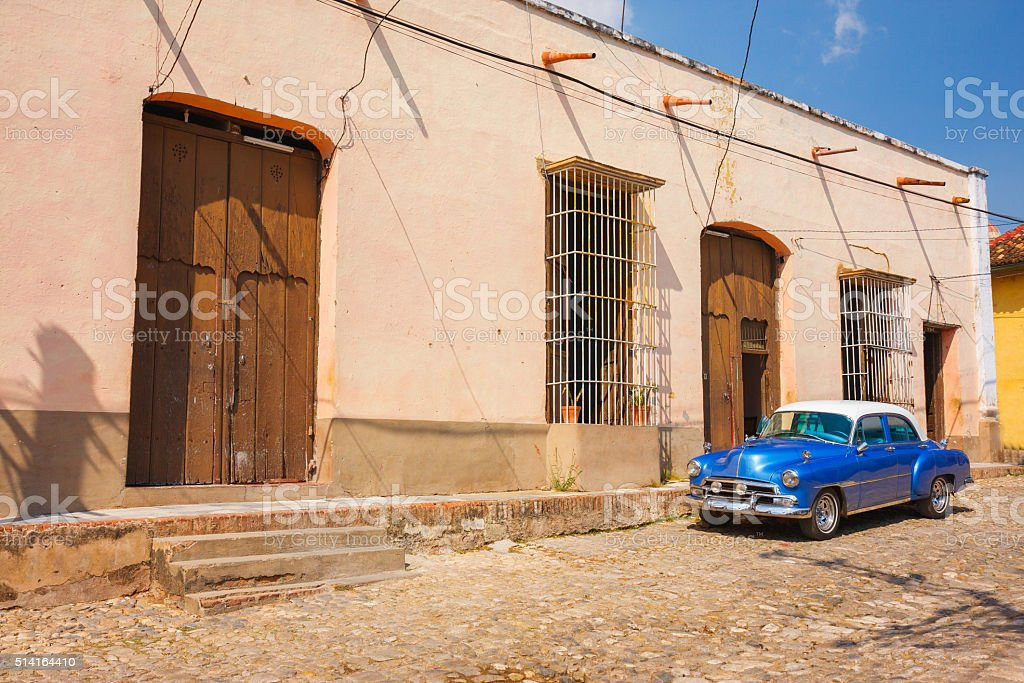 Vintage car on the street of Trinidad, Cuba stock photo