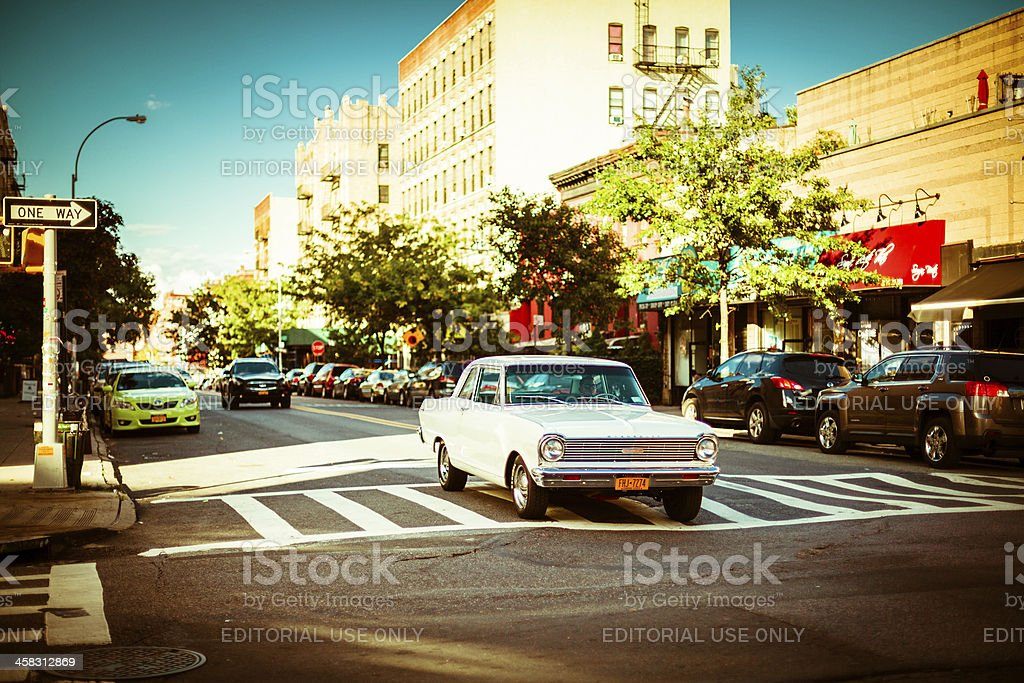 Vintage car on the Streets of Brooklyn royalty-free stock photo