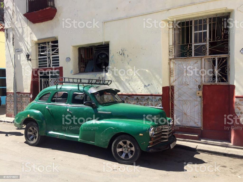 Vintage car parked in Havana stock photo