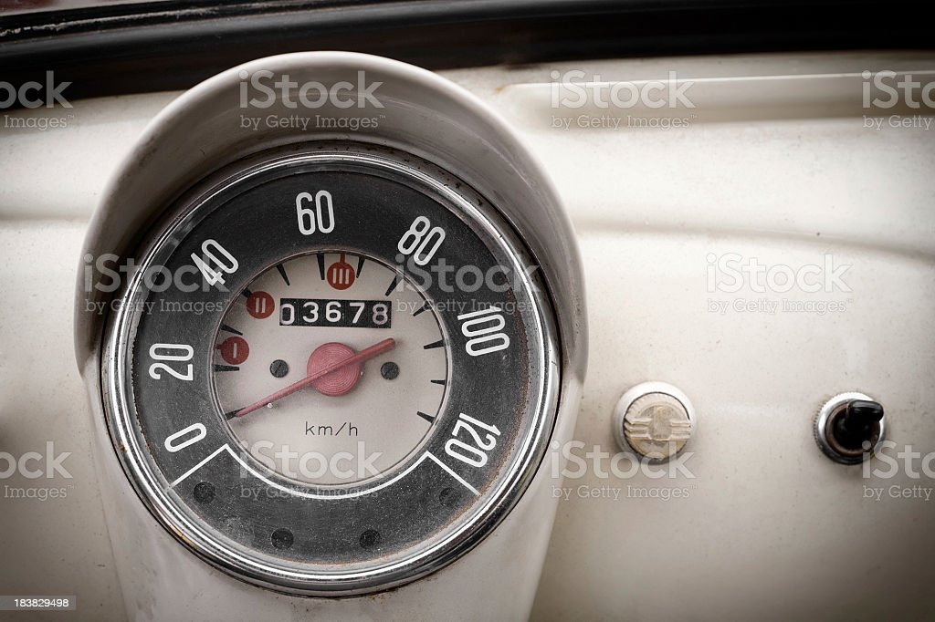 Vintage Car Speedometer and Instrument Panel royalty-free stock photo