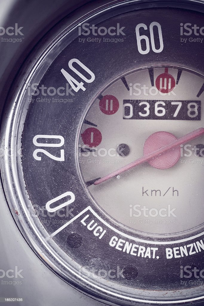Vintage Car Speedometer and Instrument Panel stock photo