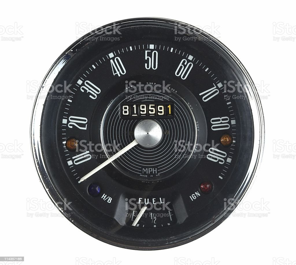 Vintage Car Speedometer From 1960s Classic royalty-free stock photo