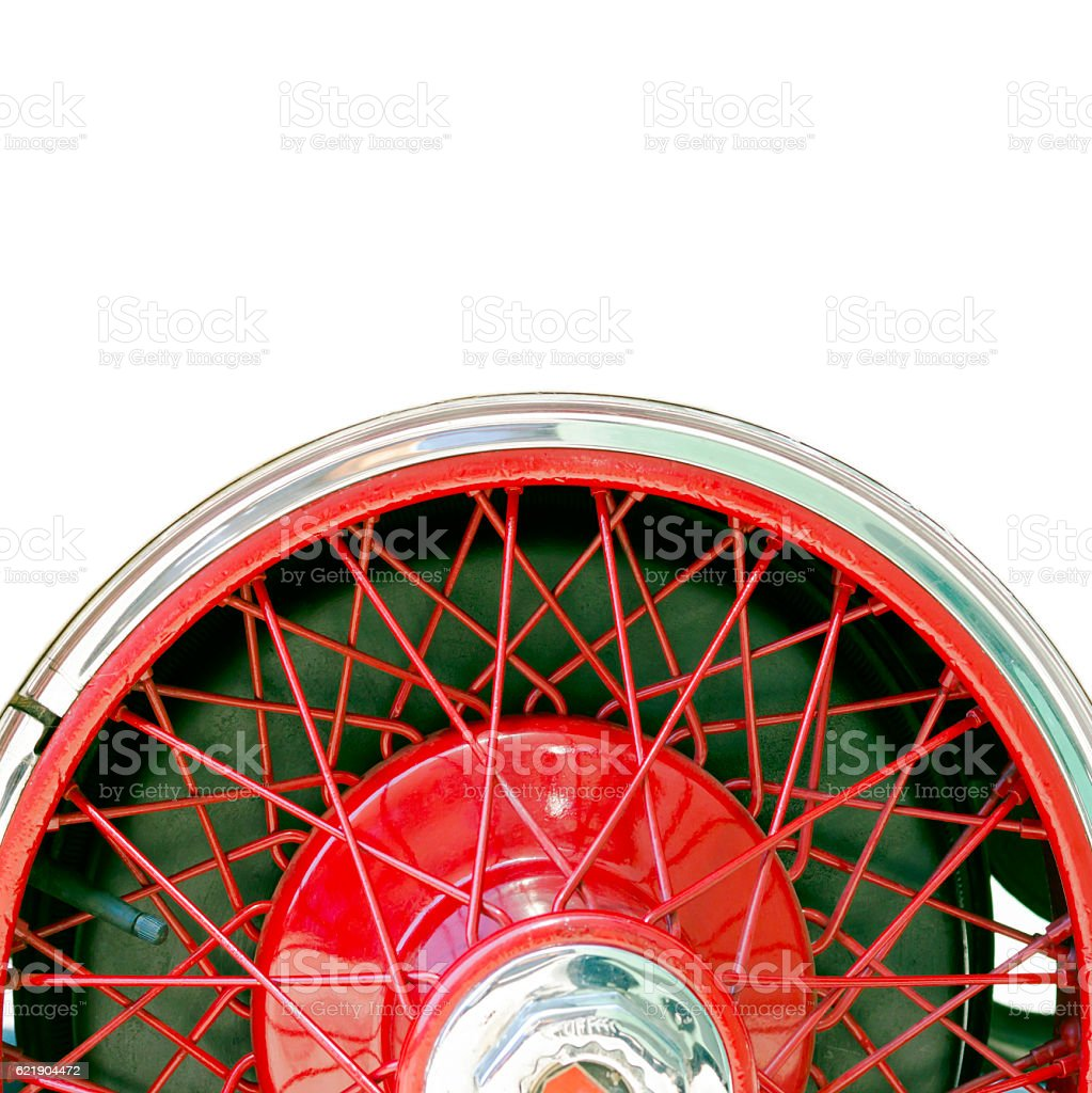 Vintage car spoke wheel, square white background with copy space stock photo