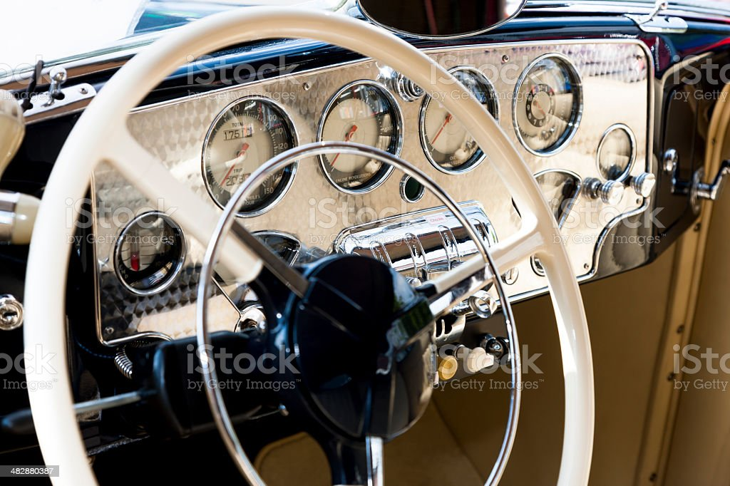 Vintage Car Steering Wheel And Dashboard stock photo