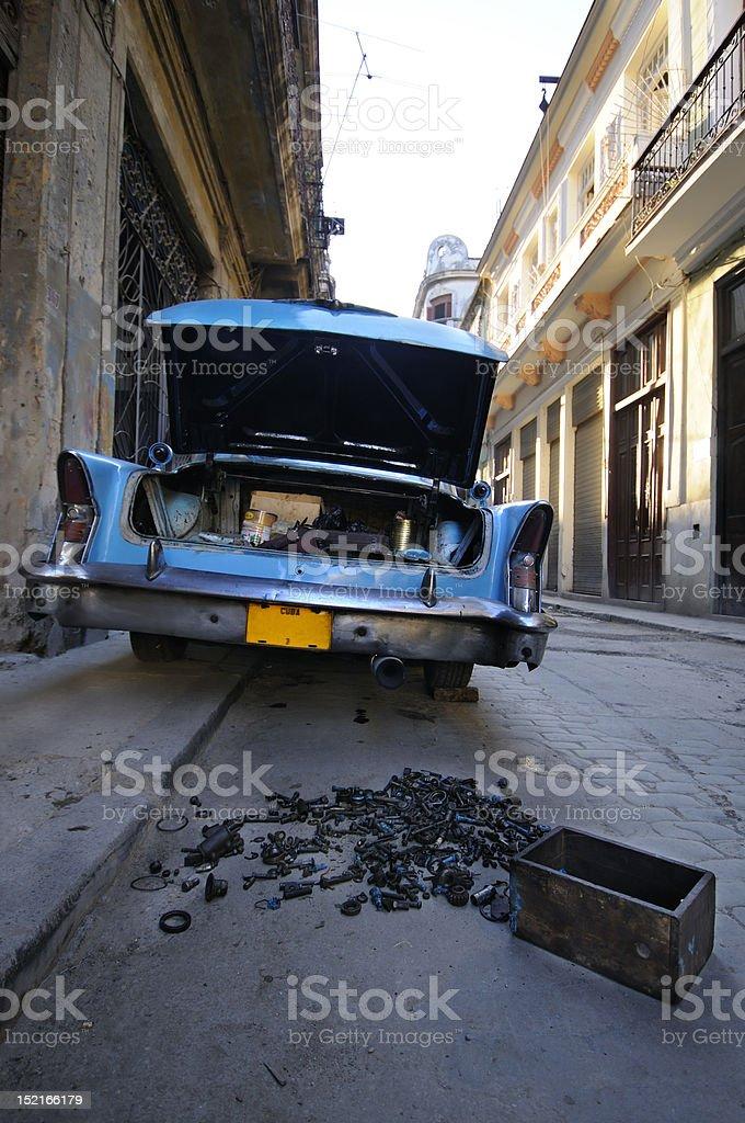 Vintage car with open trunk in Havana street stock photo