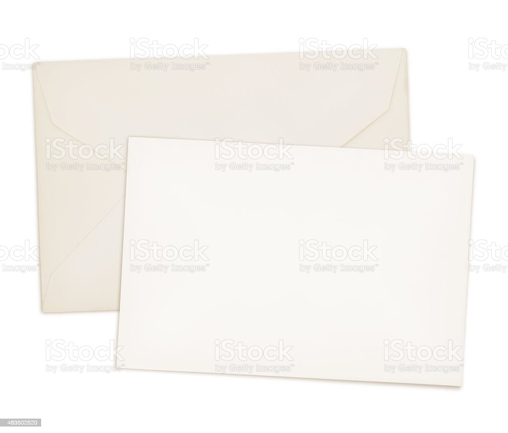 Vintage Card and Envelope (with 2 paths) stock photo