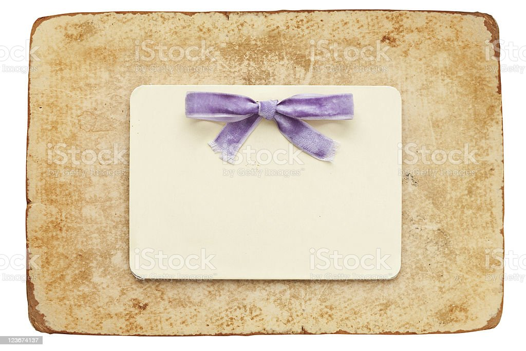 vintage card with lilac bow isolated on white background royalty-free stock photo
