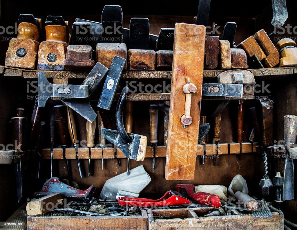 Vintage Carpenter tools on the shelf stock photo