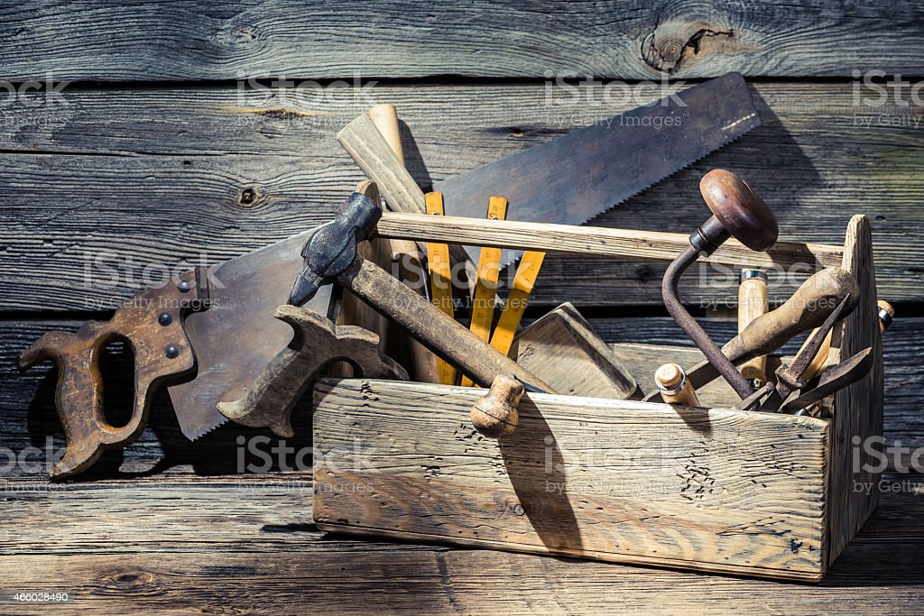 Vintage carpenters box with tools stock photo