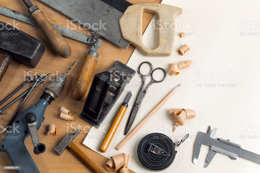 Vintage carpentry workplace stock photo