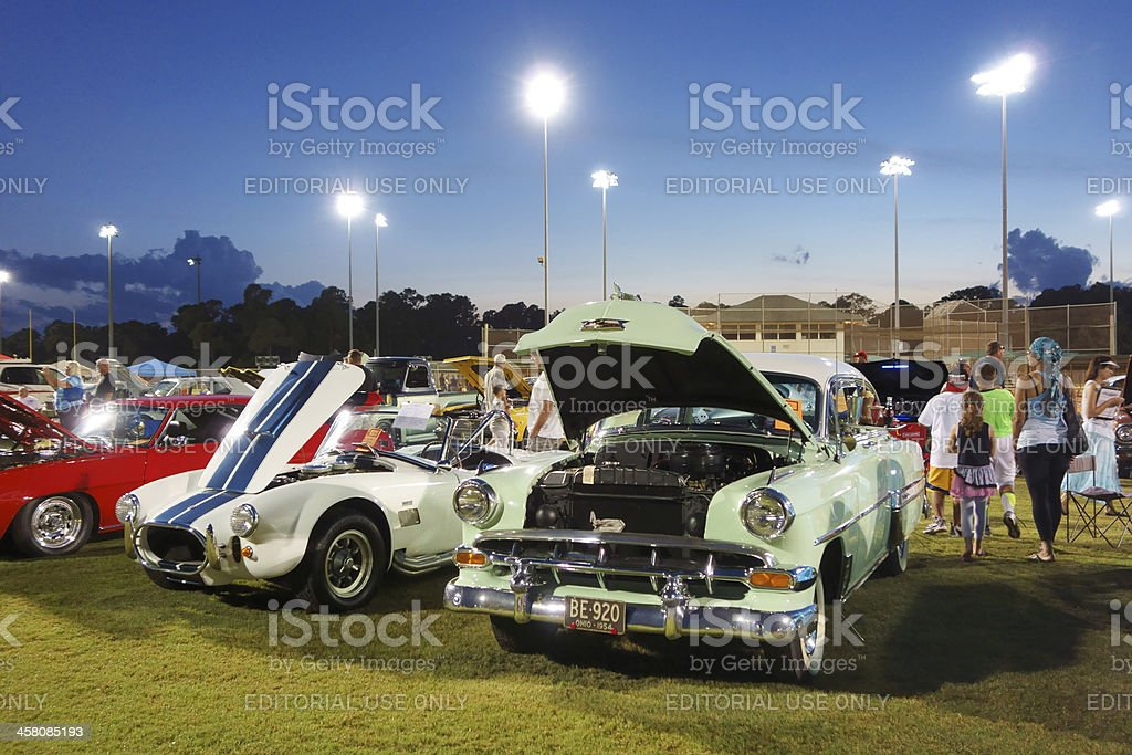 Vintage Cars at Auto Show stock photo