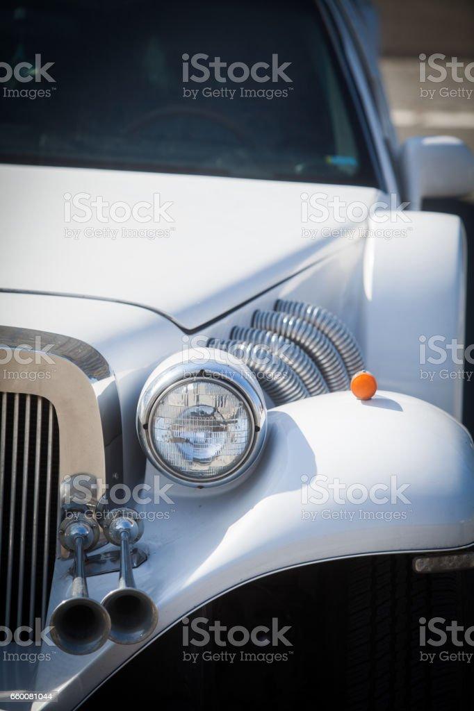 Vintage car's headlight stock photo