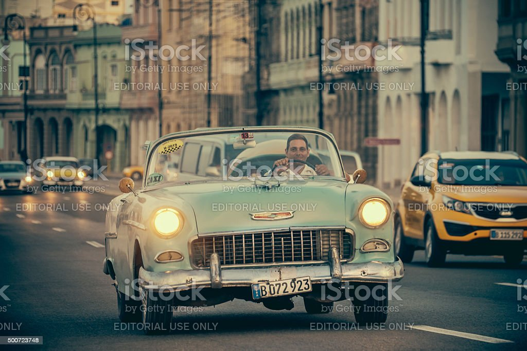 Vintage cars on Malecon stock photo