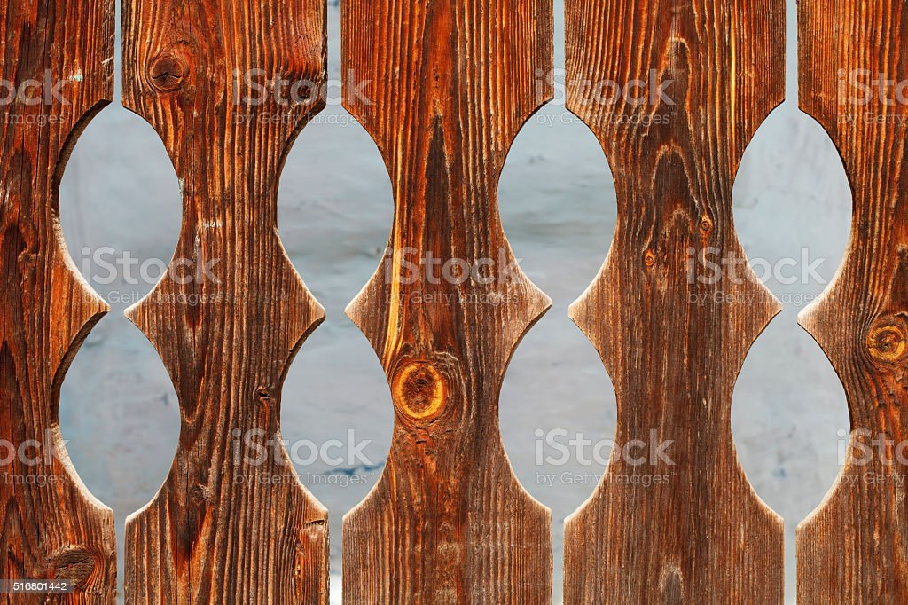 Vintage carved fence stock photo