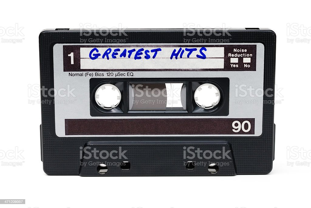 Vintage cassette tape labelled Greatest Hits royalty-free stock photo