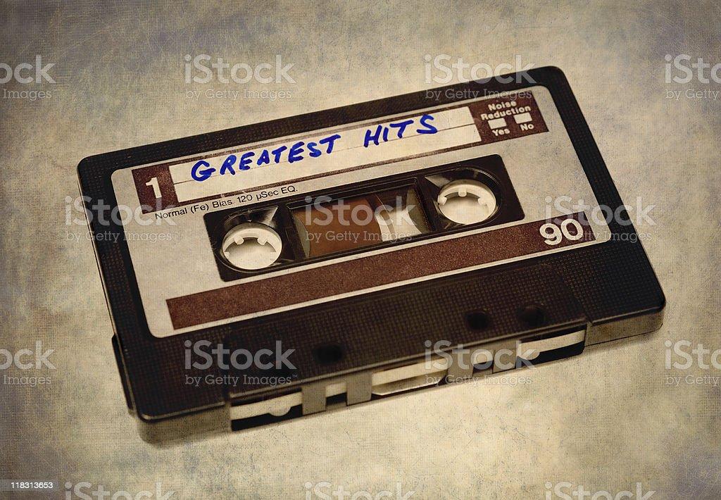 Vintage cassette tape on grunge background. stock photo