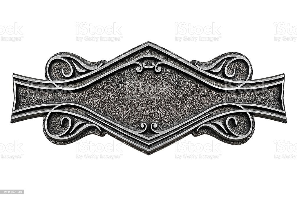 Vintage cast metal plate isolated on white background stock photo