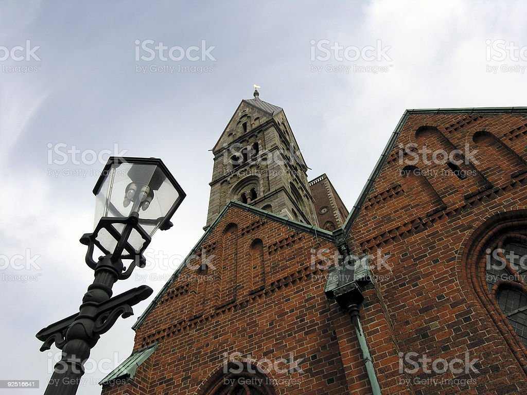 Vintage Cathedral and Old Lamp stock photo