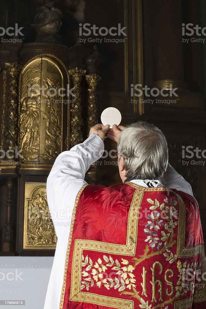 Vintage catholic mass stock photo