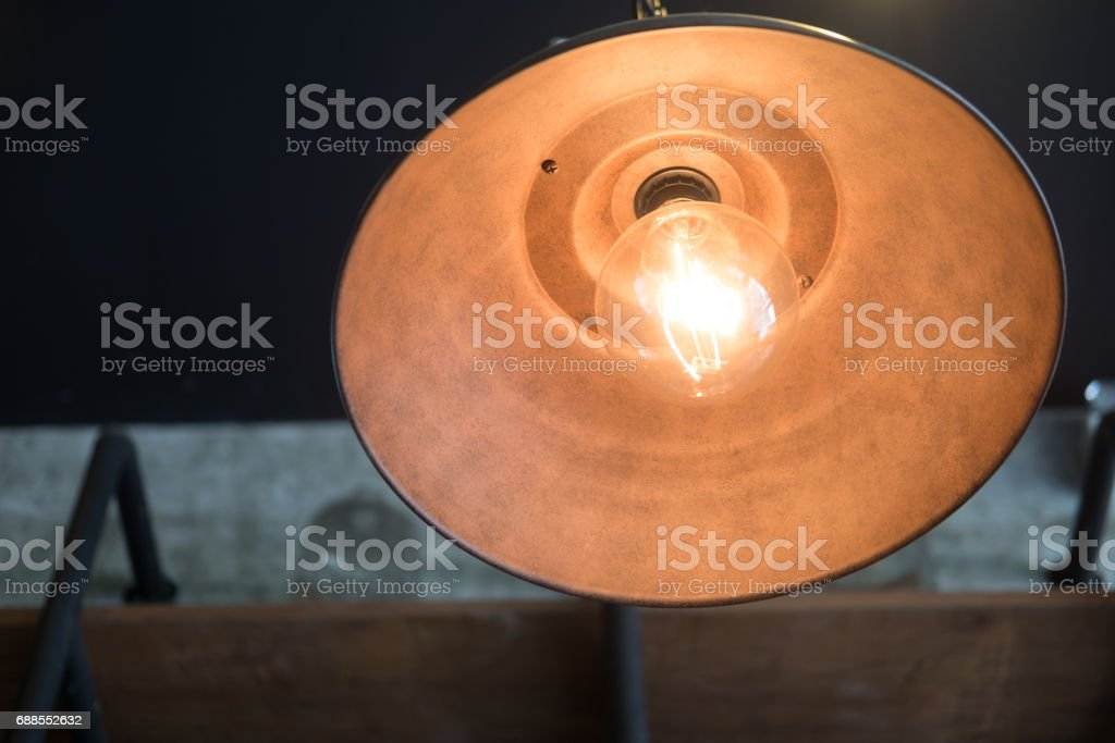 vintage ceiling lamp decor home or shop bright in orange light stock photo