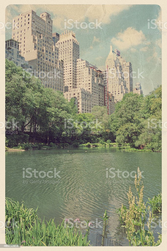 Vintage Central Park Postcard - Duck Pond stock photo